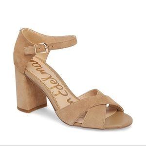 Sam Edelman Shoes - Sam Edelman Nude Suede Strappy Block Heel Sandals